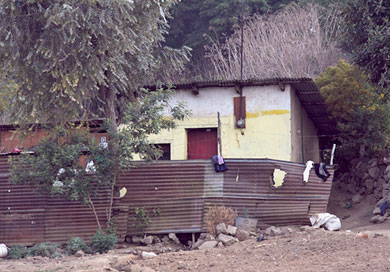 A typical sheet metal house in the La Pedrera village