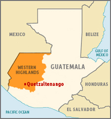 Map of Guatemala highlighting the Western Highlands and Quetzaltenango