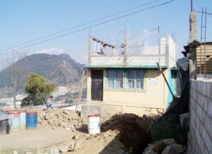 The school with additional room under contruction.
